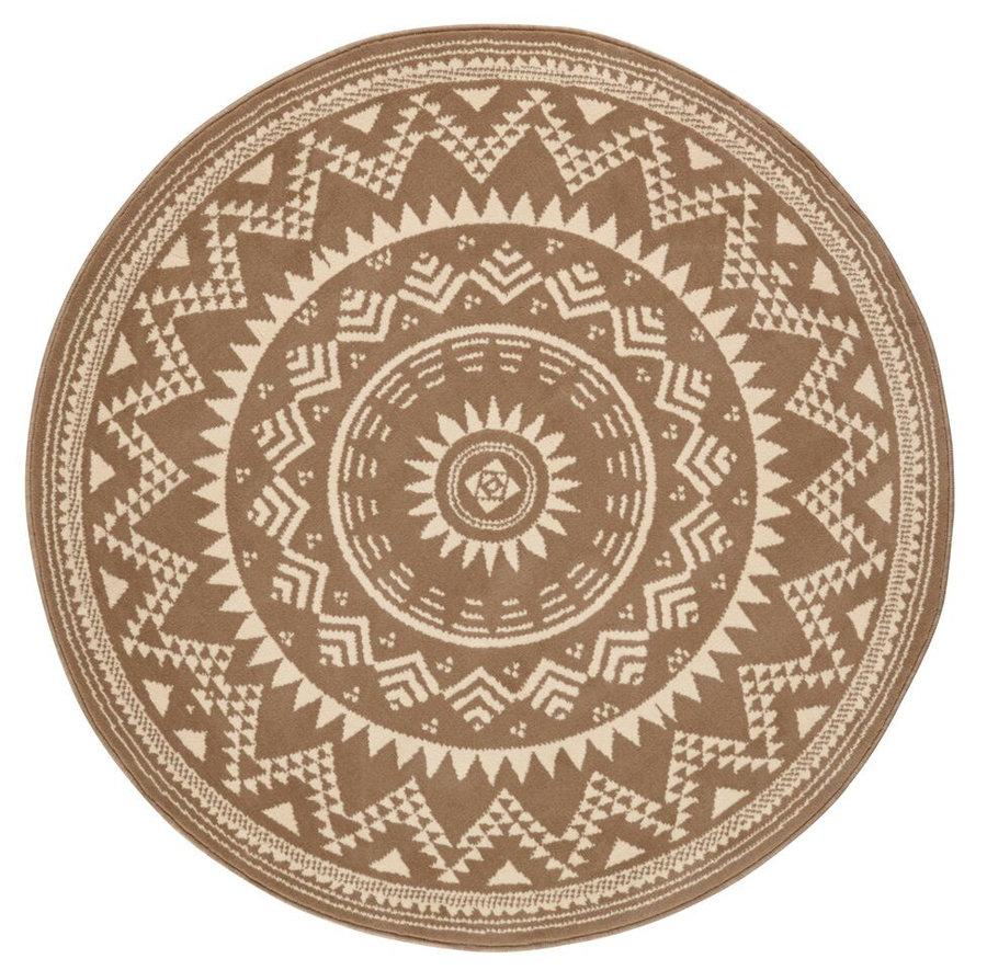 Hnědý kusový kulatý koberec Celebration, Valencia