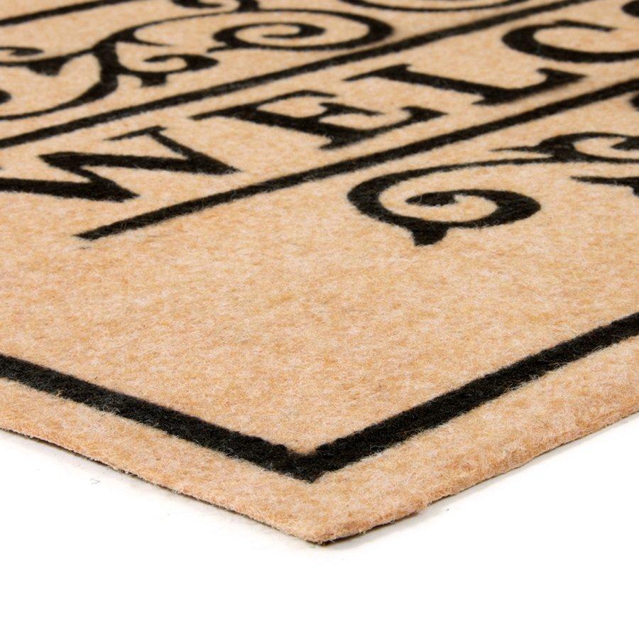 Béžová textilní vstupní čistící vnitřní rohož Welcome - Deco, FLOMA - délka 45 cm, šířka 75 cm a výška 0,3 cm
