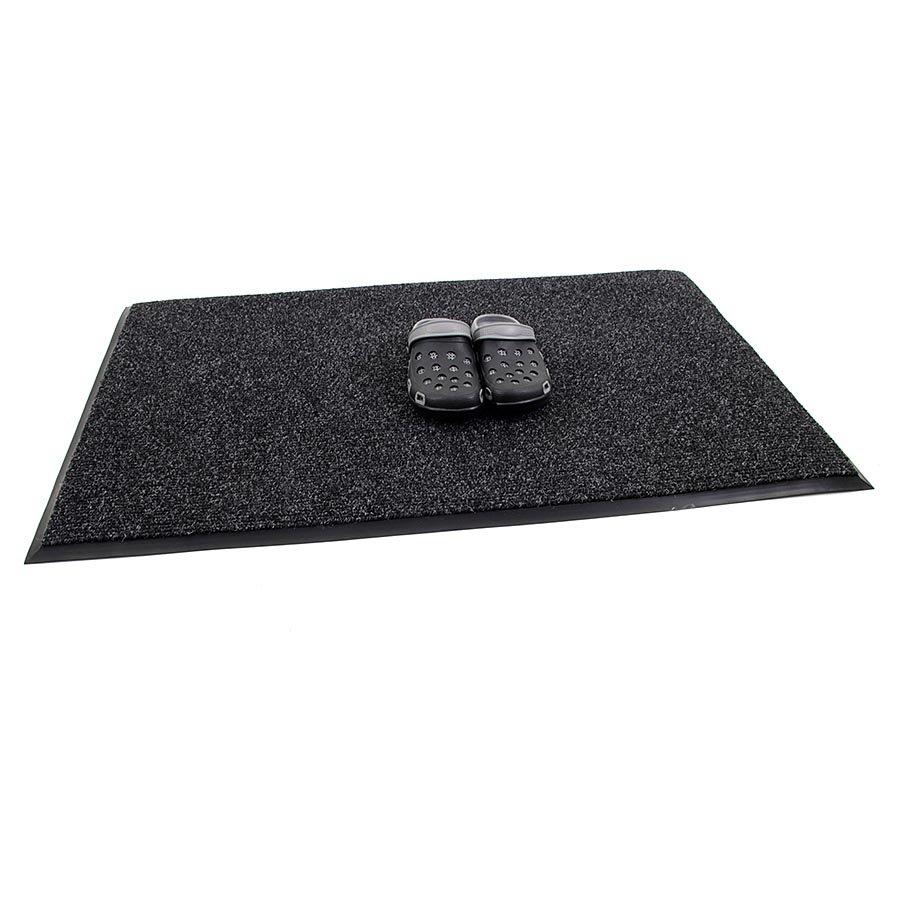 Černá textilní zátěžová čistící vnitřní vstupní rohož Catrine, FLOMA - délka 70 cm, šířka 100 cm a výška 1,35 cm