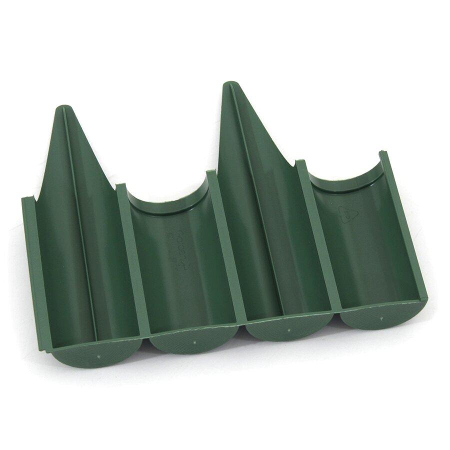 Zelený plastový palisádový zahradní obrubník FLOMA Wood - délka 25 cm a výška 12,5 cm