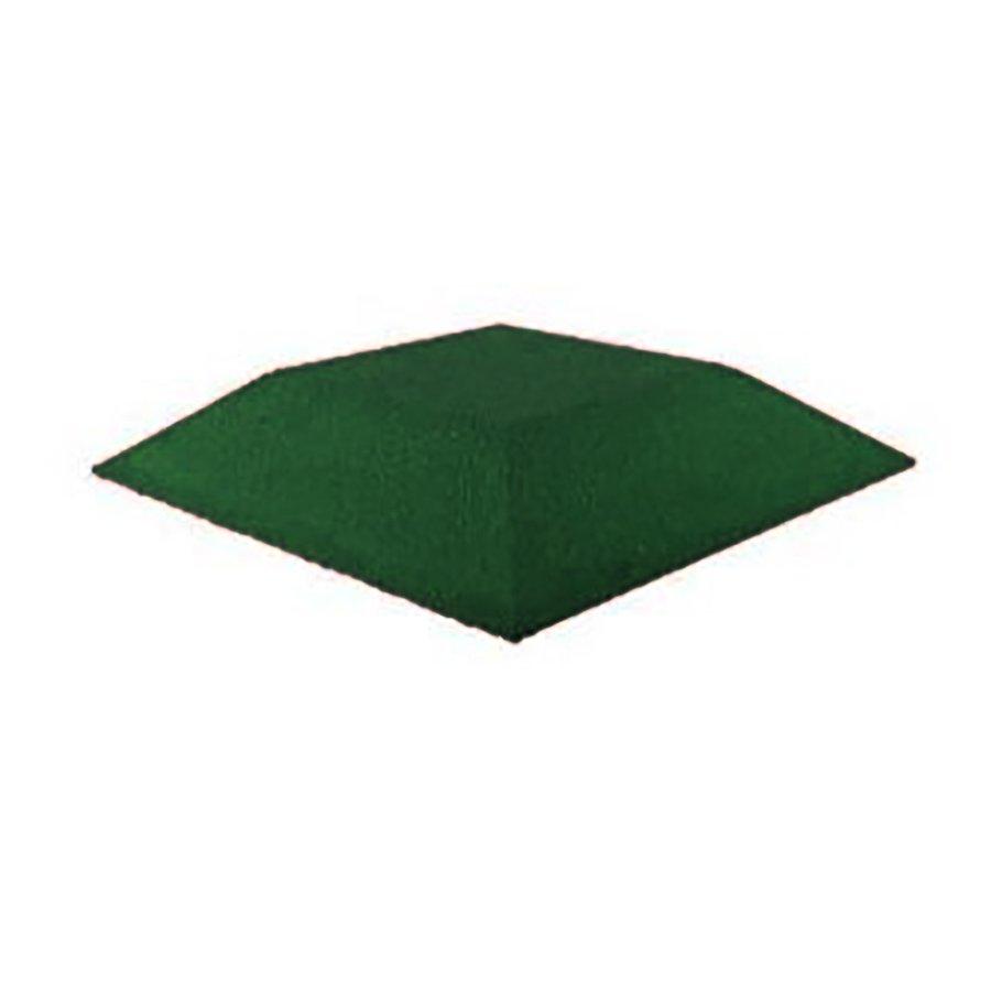 Zelená gumová krajová dopadová dlaždice (roh) (V90/R00) FLOMA - délka 50 cm, šířka 50 cm a výška 9 cm