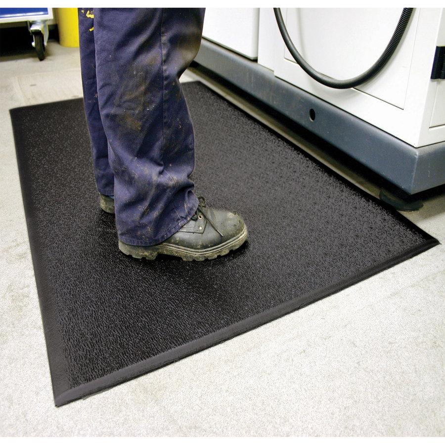 Černá vinylová průmyslová protiúnavová protiskluzová metrážová rohož Lite - šířka 90 cm a výška 0,6 cm