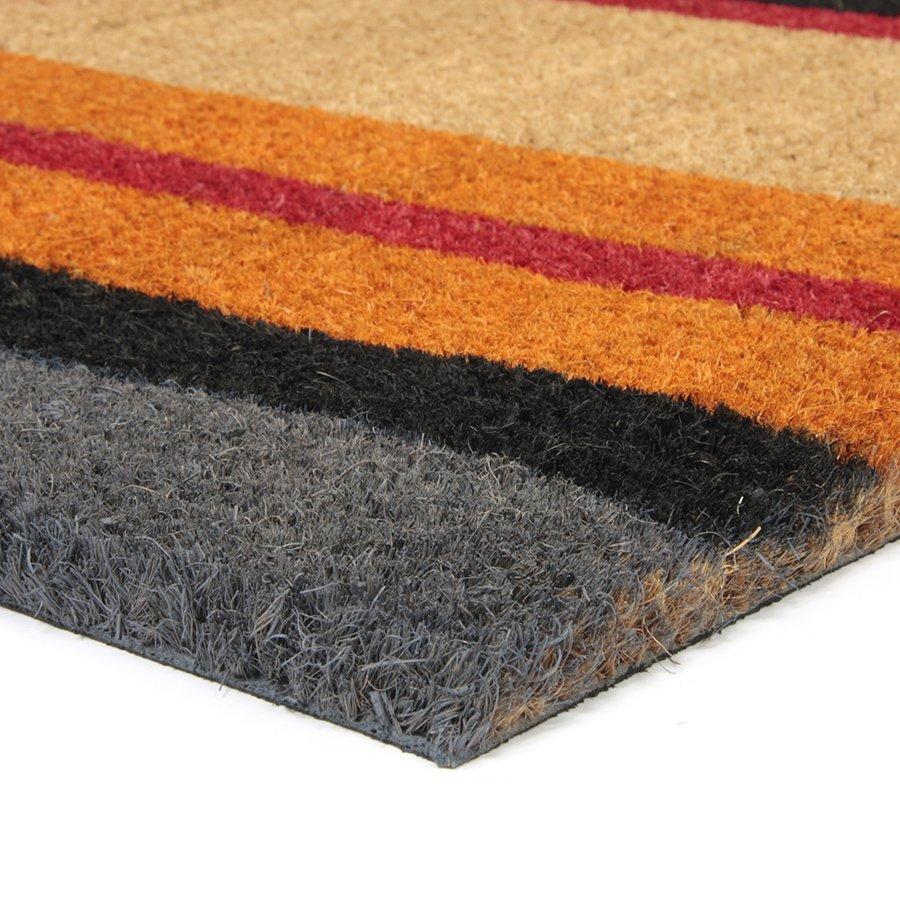 Kokosová vstupní venkovní čistící rohož FLOMA Stripes - délka 45 cm, šířka 75 cm a výška 1,7 cm