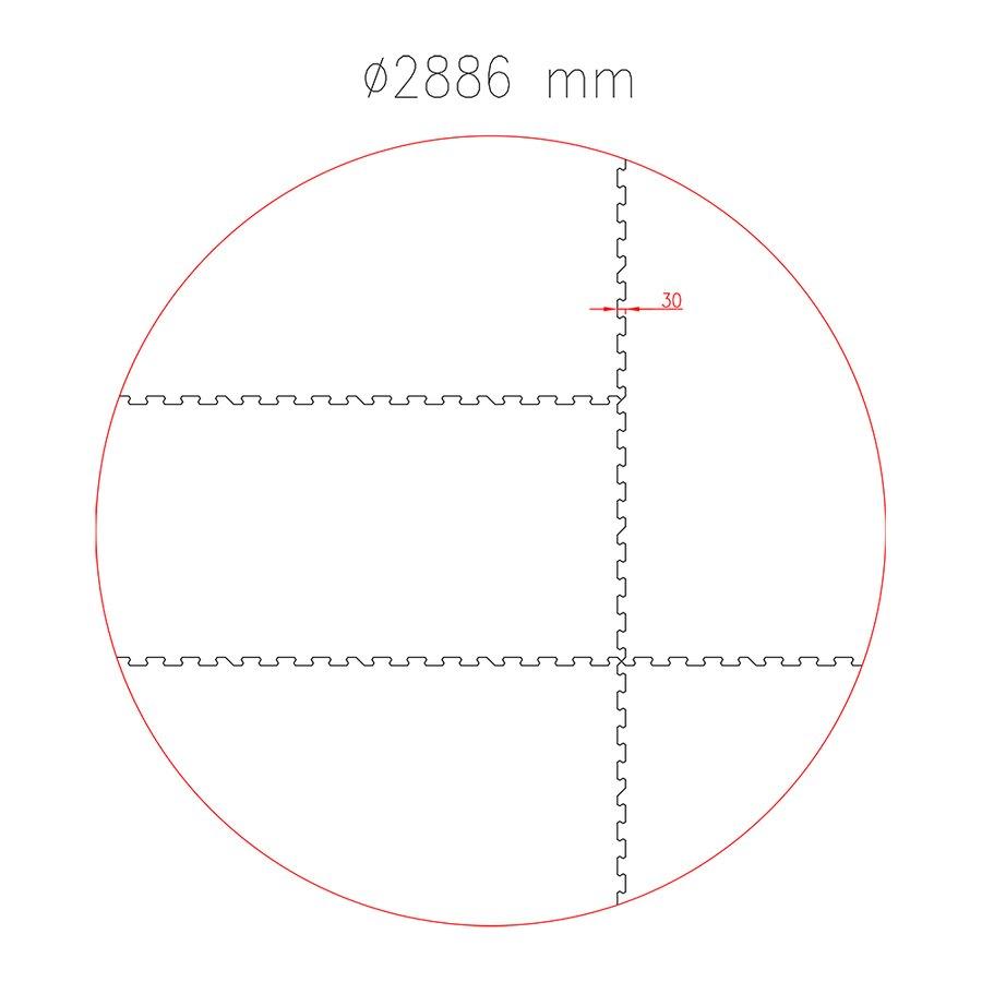 Gumová ochranná tlumící kruhová podložka pod bazén, vířivku FLOMA PoolPad - průměr 288,6 cm a výška 0,8 cm