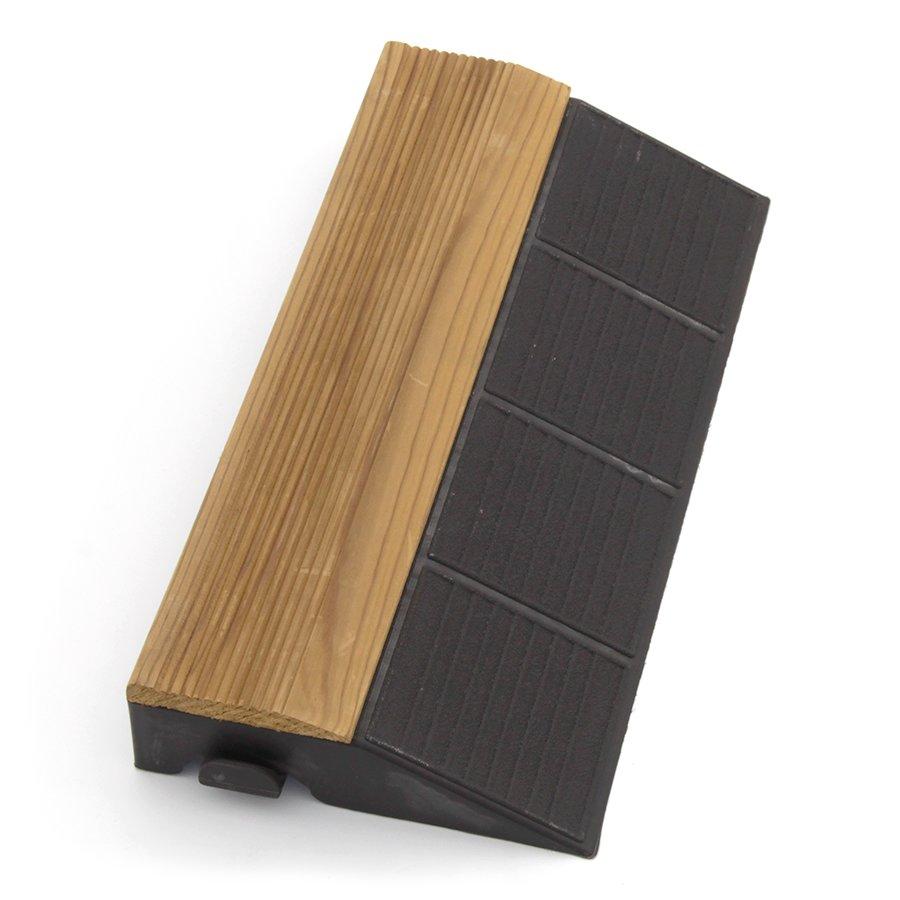 """Hnědý dřevoplastový nájezd """"samice"""" pro terasové dlaždice Linea Combi-Wood - délka 40 cm, šířka 19,5 cm a výška 6,5 cm"""