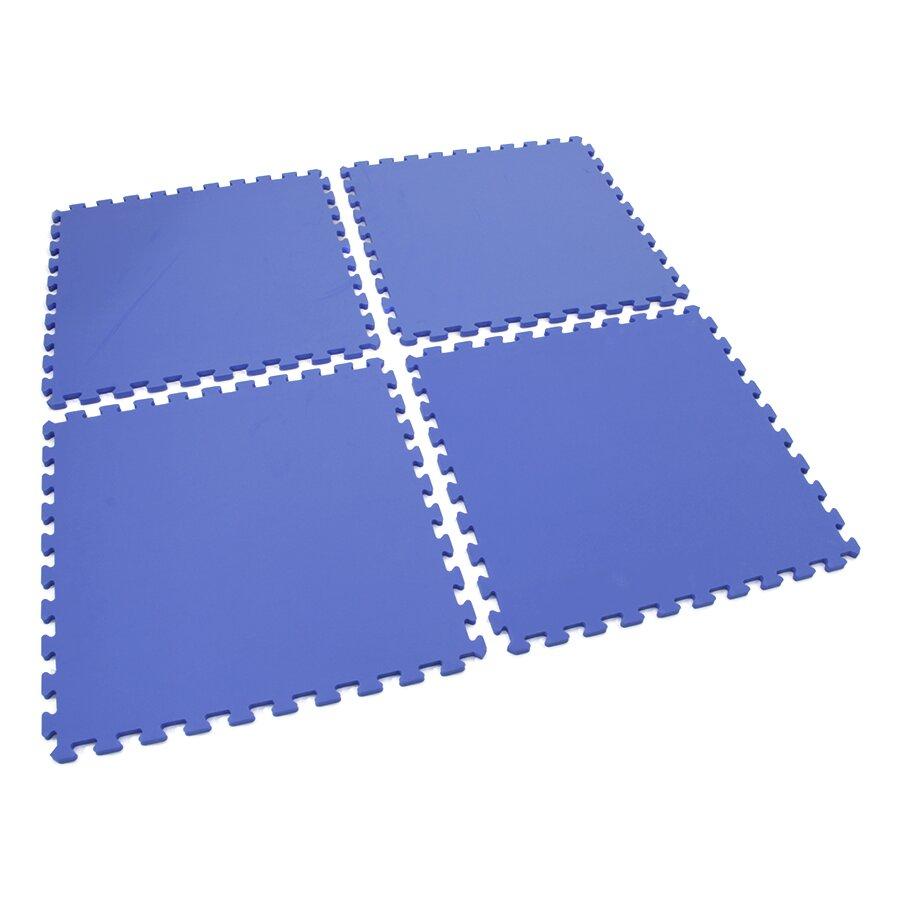 Modrá dětská pěnová hrací modulová podložka (4x puzzle) SPARTAN SPORT - délka 122 cm, šířka 122 cm a výška 1,4 cm