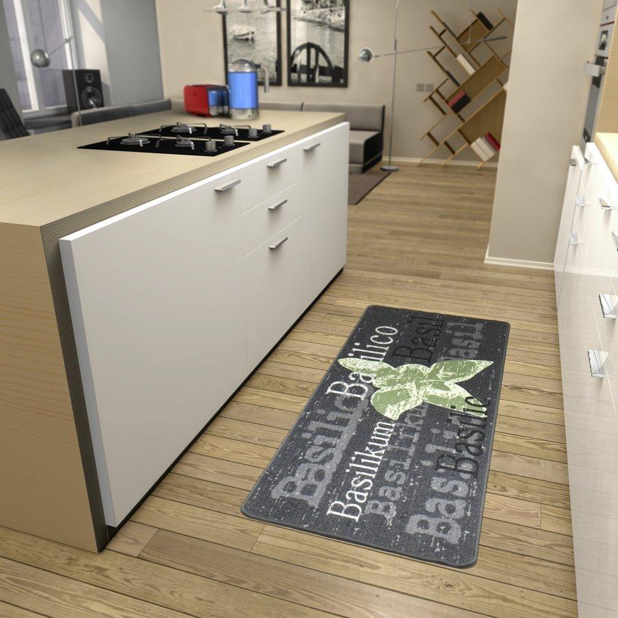 Šedá kuchyňská kusová moderní předložka Loop - délka 180 cm a šířka 67 cm