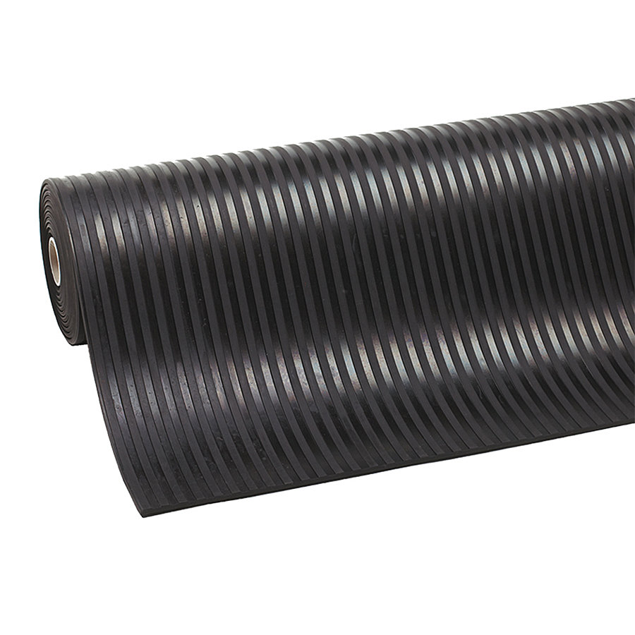 Černá průmyslová rohož Rib 'n' Roll - délka 10 m, šířka 120 cm a výška 0,6 cm