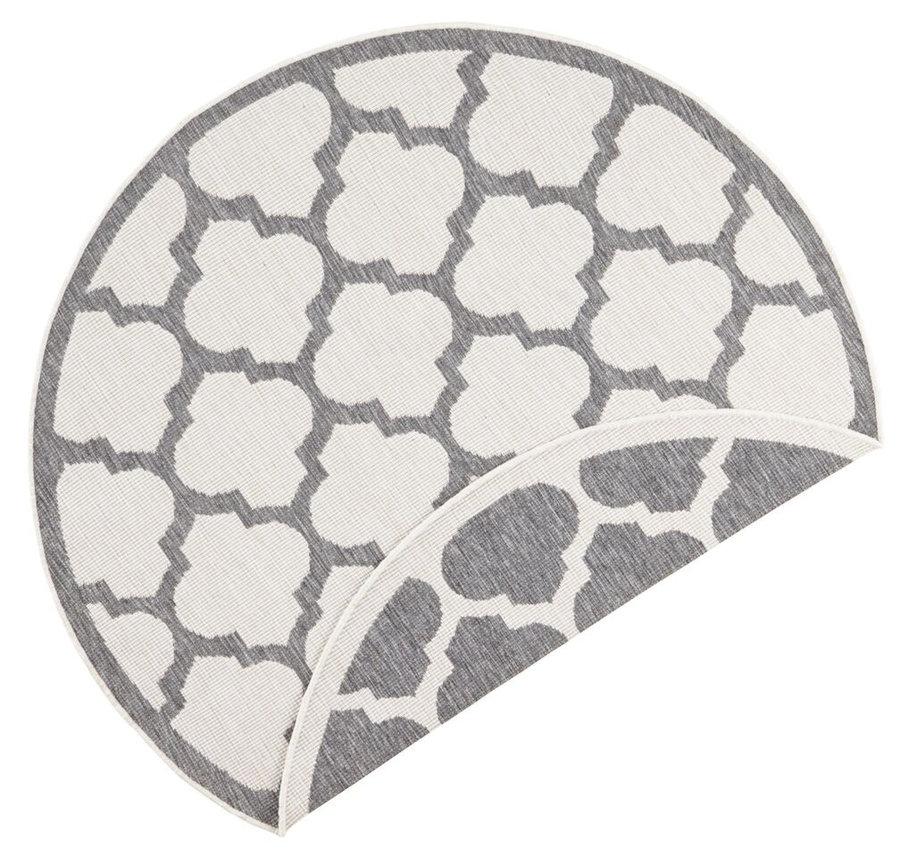 Šedý oboustranný moderní kulatý koberec Twin-Supreme
