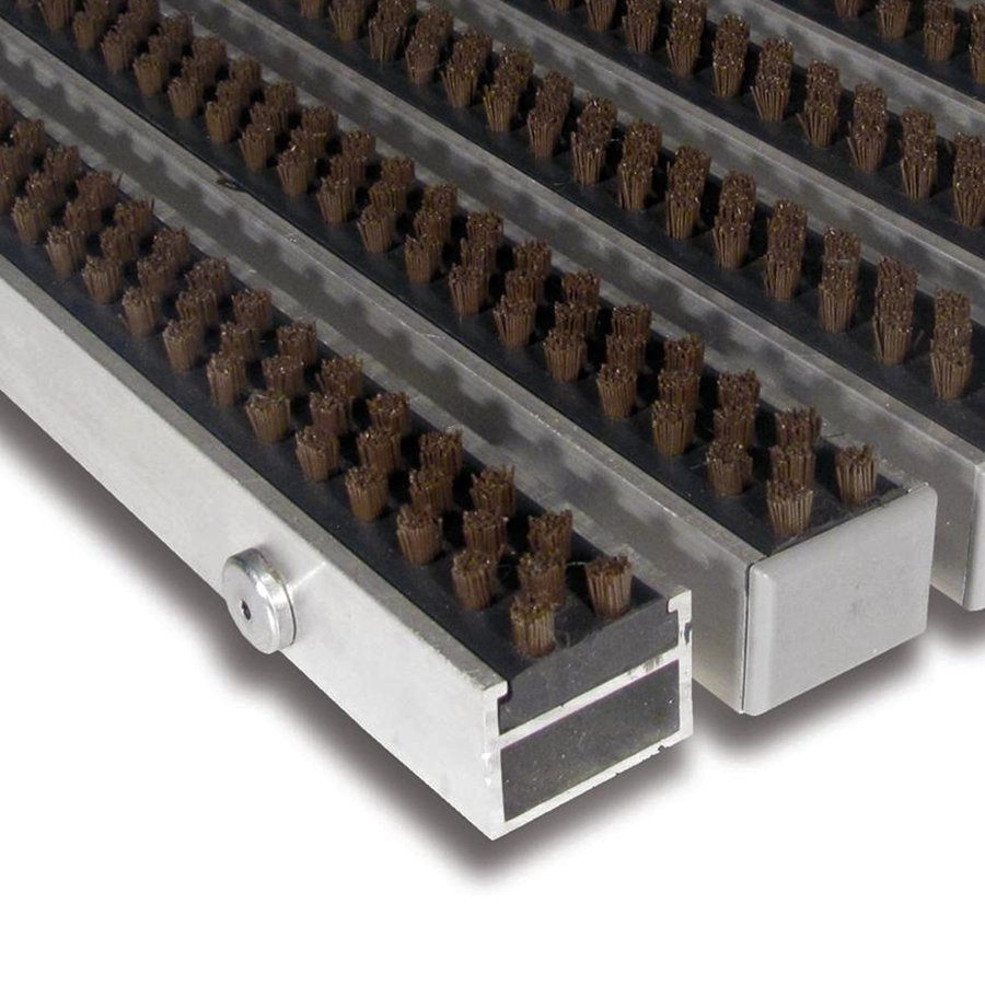 Hnědá hliníková kartáčová venkovní vstupní rohož Alu Super, FLOMA - výška 2,7 cm