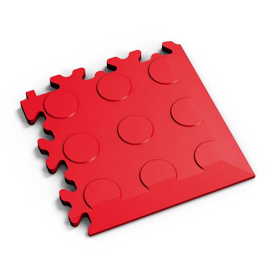 Červený vinylový plastový rohový nájezd 2046 (penízky), Fortelock - délka 14 cm, šířka 14 cm a výška 0,7 cm