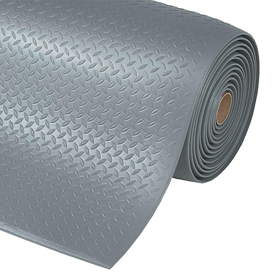 Šedá metrážová protiúnavová průmyslová rohož Diamond, Sof-Tred - délka 1 cm a výška 1,27 cm