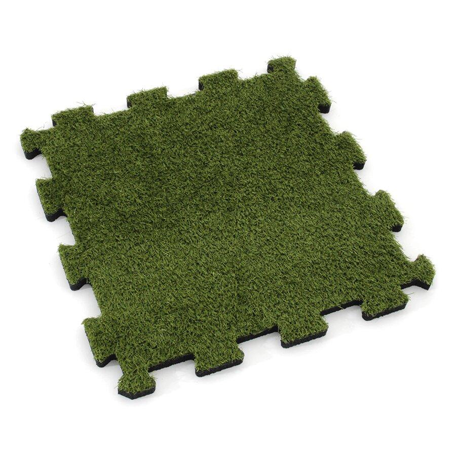 Gumová modulová puzzle dlažba s umělým trávníkem (střed) FLOMA SportFlo S800 - délka 95,6 cm, šířka 95,6 cm a výška 2,5 cm