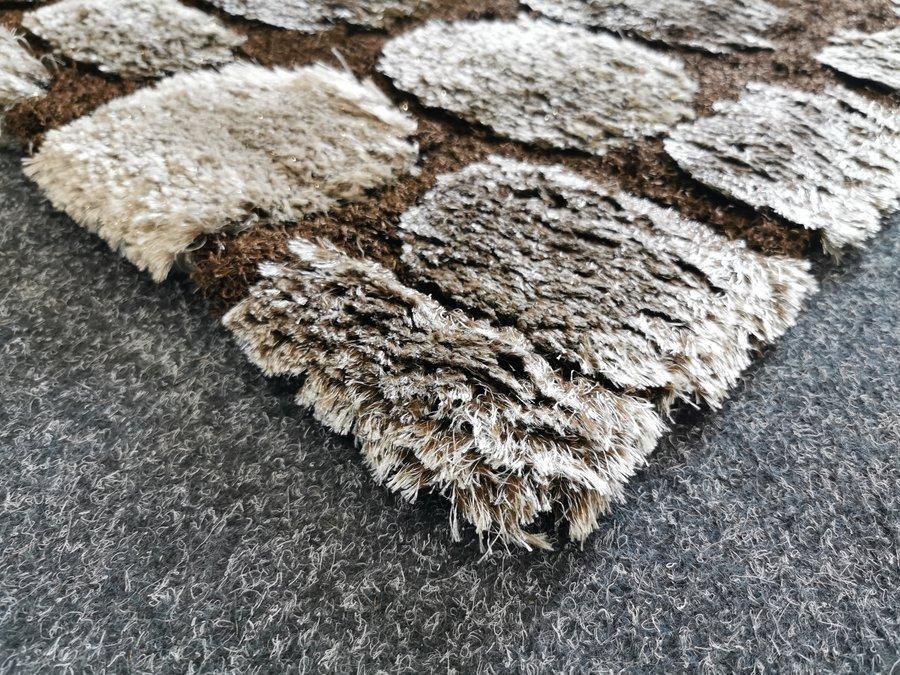 Hnědý kusový koberec Shaggy - délka 170 cm a šířka 120 cm