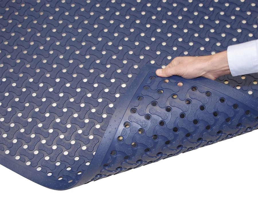 Modrá protiskluzová kuchyňská rohož FLOMA - délka 152 cm, šířka 91 cm a výška 1,6 cm
