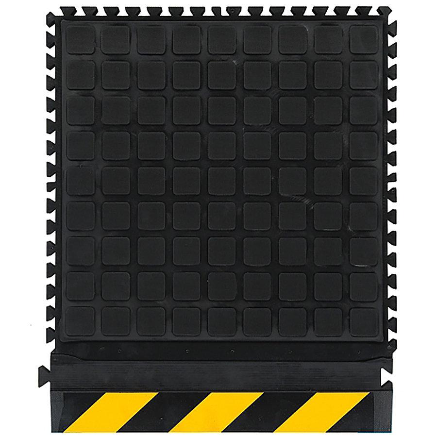 Černo-žlutá podlahová protiúnavová protiskluzová dlaždice (okraj) - délka 55 cm, šířka 45 cm a výška 2 cm