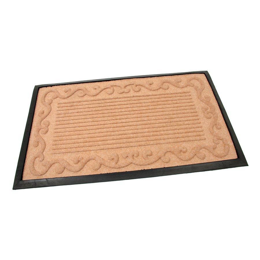 Béžová textilní gumová vstupní čistící rohož Stripes - Deco, FLOMA - délka 45 cm, šířka 75 cm a výška 0,8 cm