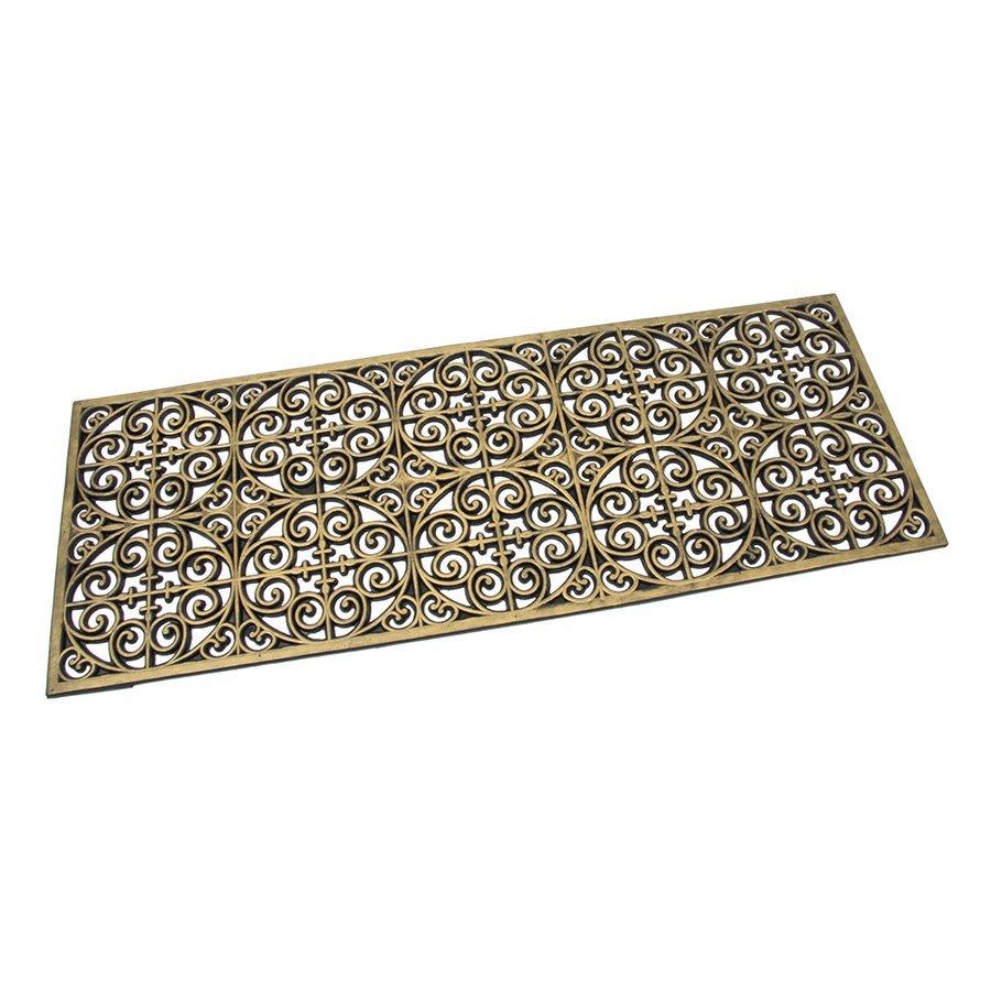 Zlatá gumová čistící venkovní vstupní rohož Circles - Deco, FLOMAT - délka 45 cm, šířka 120 cm a výška 0,9 cm