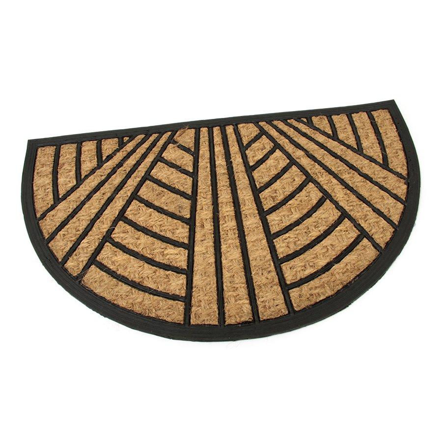 Kokosová čistící venkovní vstupní půlkruhová rohož Stripes - Lines, FLOMAT - délka 45 cm, šířka 75 cm a výška 0,8 cm