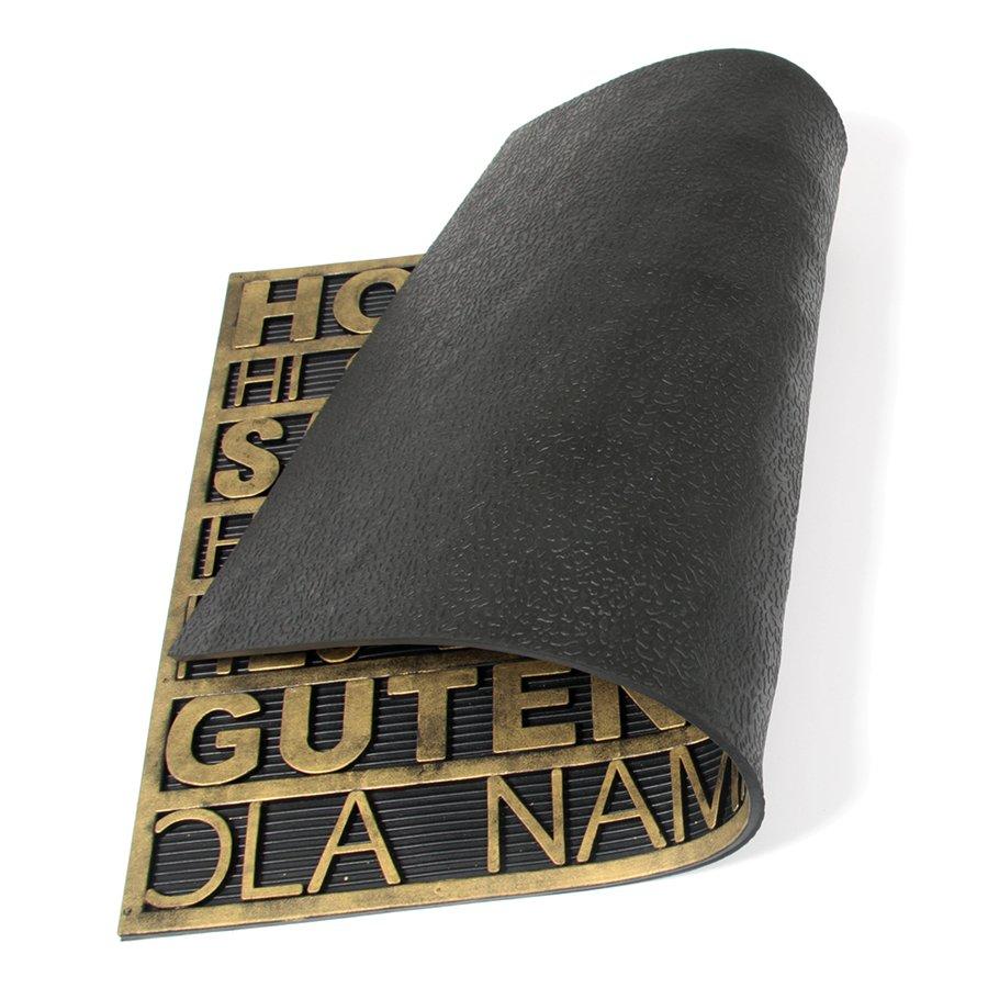 Gumová vstupní venkovní čistící rohož Multilanguage, FLOMAT - délka 45 cm, šířka 75 cm a výška 0,9 cm