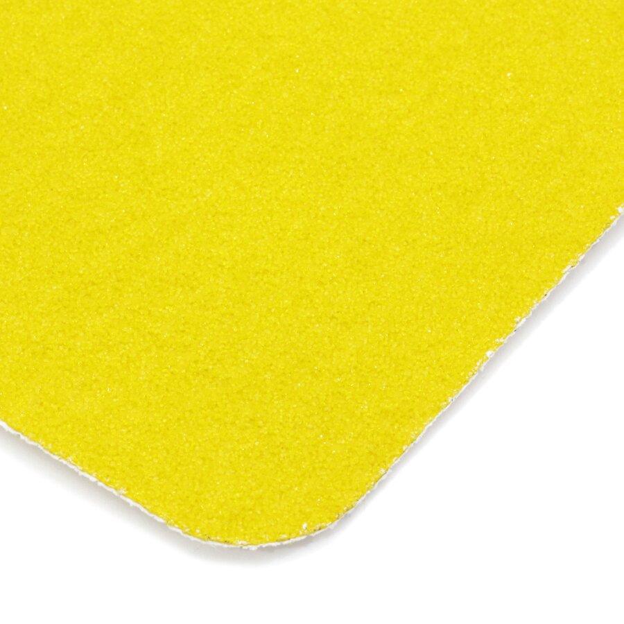 Žlutá korundová protiskluzová páska (pás) FLOMA Super - délka 15 cm, šířka 61 cm a tloušťka 1 mm