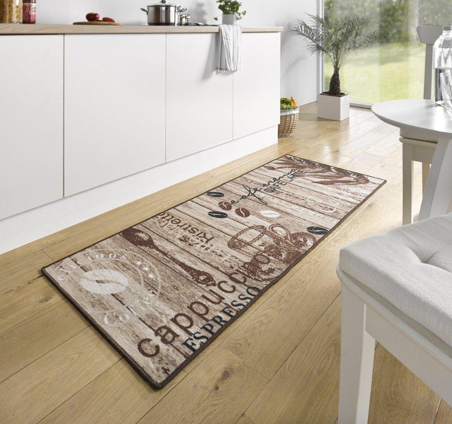 Hnědá kuchyňská kusová moderní předložka Loop, 04 - délka 180 cm a šířka 67 cm