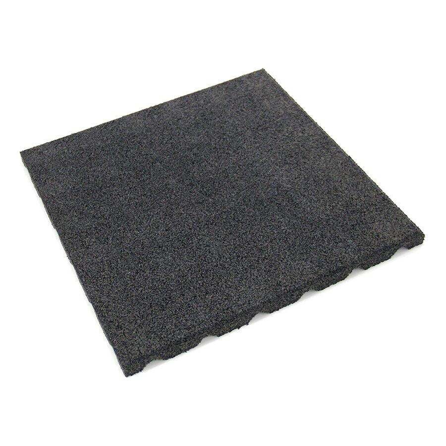 Černá gumová dlažba (V40/R15) FLOMA - délka 50 cm, šířka 50 cm a výška 4 cm