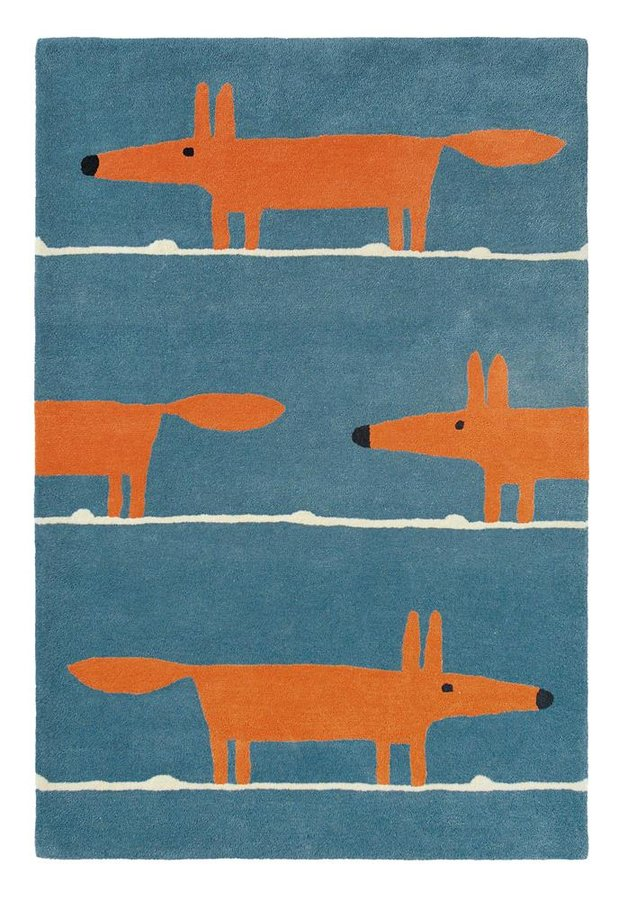 Modrý kusový moderní koberec Mr. Fox