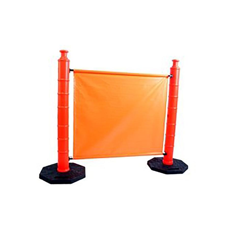 Oranžová plastová mobilní zábrana - délka 152 cm a výška 115 cm
