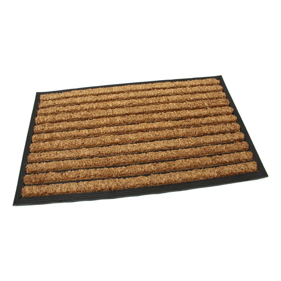 Kokosová čistící venkovní vstupní rohož Stripes, FLOMA - délka 45 cm, šířka 75 cm a výška 2,2 cm