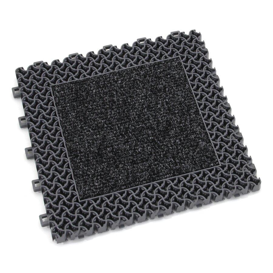 Šedá plastová textilní zátěžová modulová vstupní rohož Modular 9900 - Aqua 95 - délka 30 cm, šířka 30 cm a výška 2,19 cm
