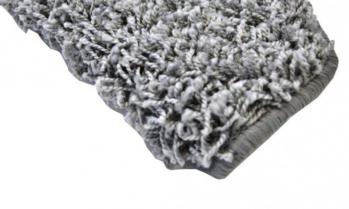 Šedý kobercový půlkruhový nášlap na schody Shaggy - délka 24 cm a šířka 65 cm