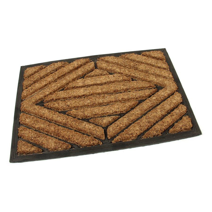 Kokosová čistící venkovní vstupní rohož Rectangle - Stripes, FLOMAT, 02 - délka 40 cm, šířka 60 cm a výška 2,2 cm