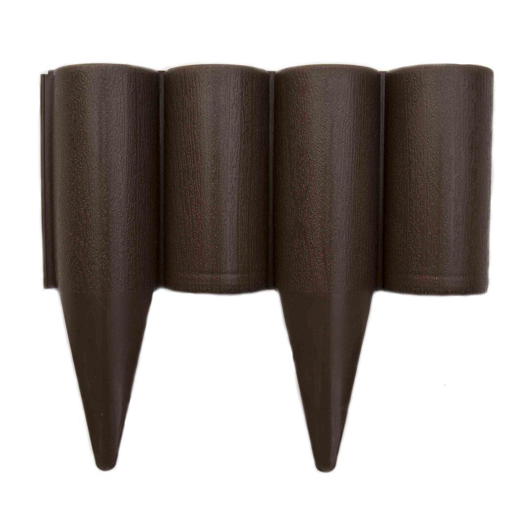 Hnědý plastový palisádový zahradní obrubník Wood - délka 25 cm a výška 12,5 cm