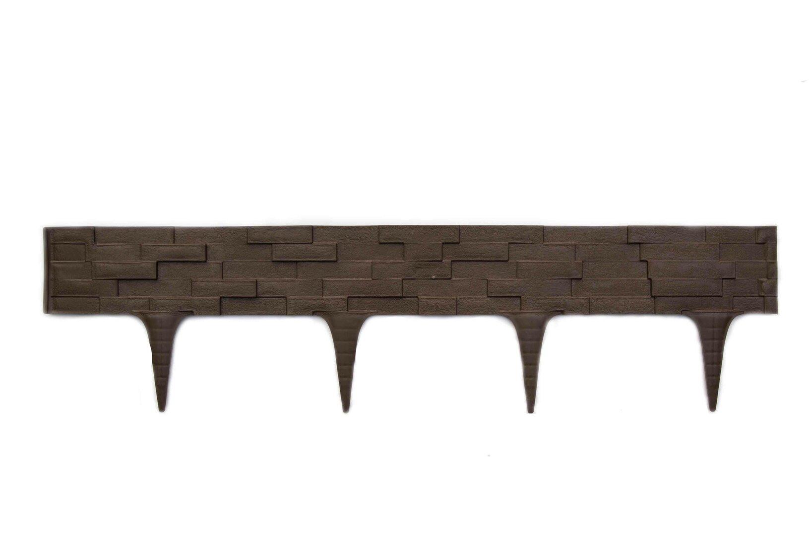 Hnědý plastový palisádový zahradní obrubník Stone - délka 80 cm a výška 8 cm