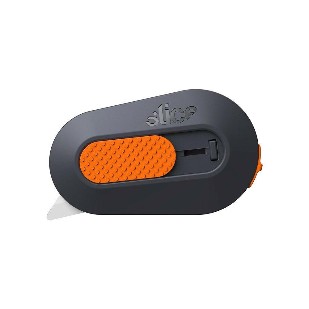 Černo-oranžový plastový malý bezpečnostní polohovatelný nůž na krabice SLICE - délka 6,2 cm, šířka 3,8 cm a výška 1,2 cm