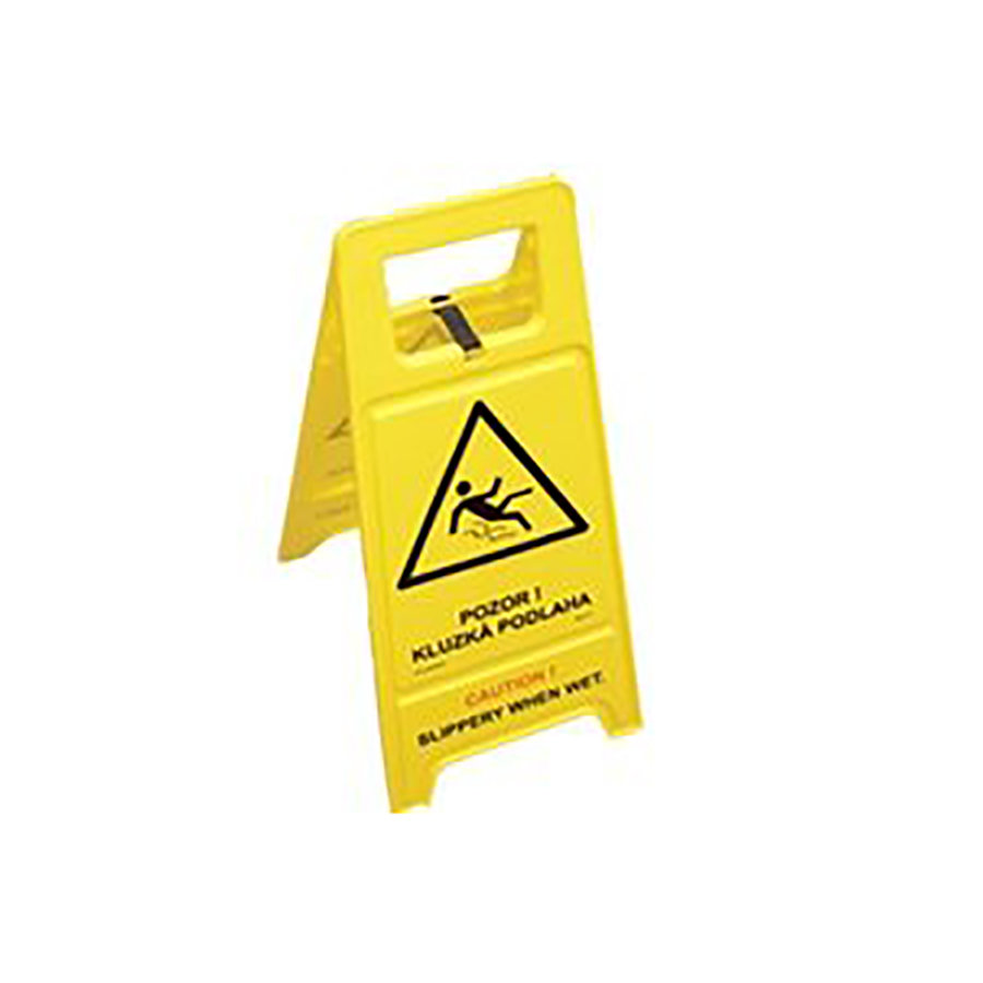 """Žlutý dvojjazyčný výstražný stojan """"Pozor! Kluzká podlaha"""" - šířka 30 cm a výška 63 cm"""