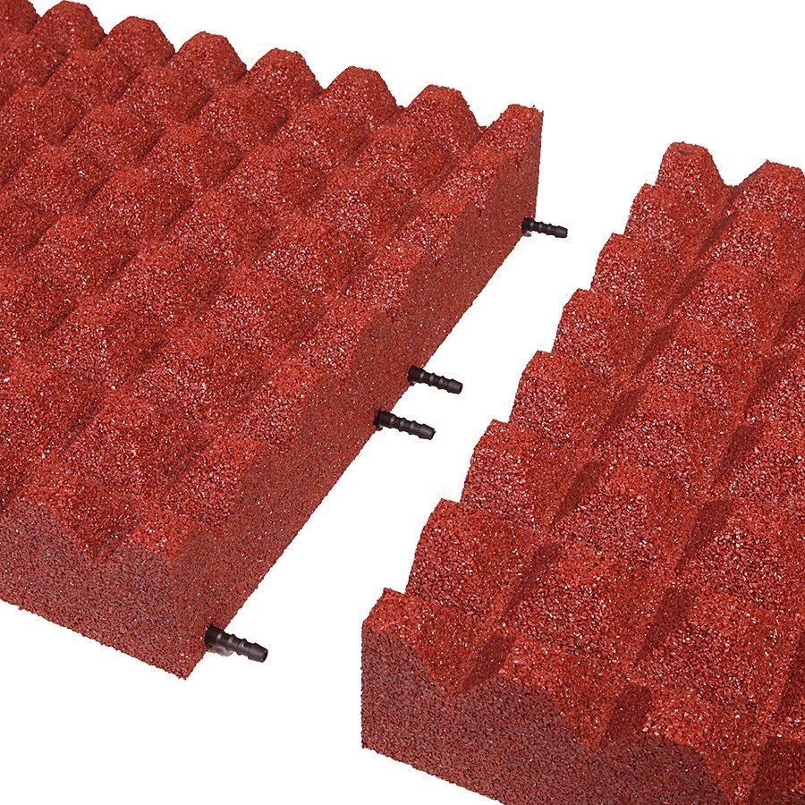 Červená gumová dopadová dlaždice (V100/R28) FLOMA - délka 50 cm, šířka 50 cm a výška 10 cm