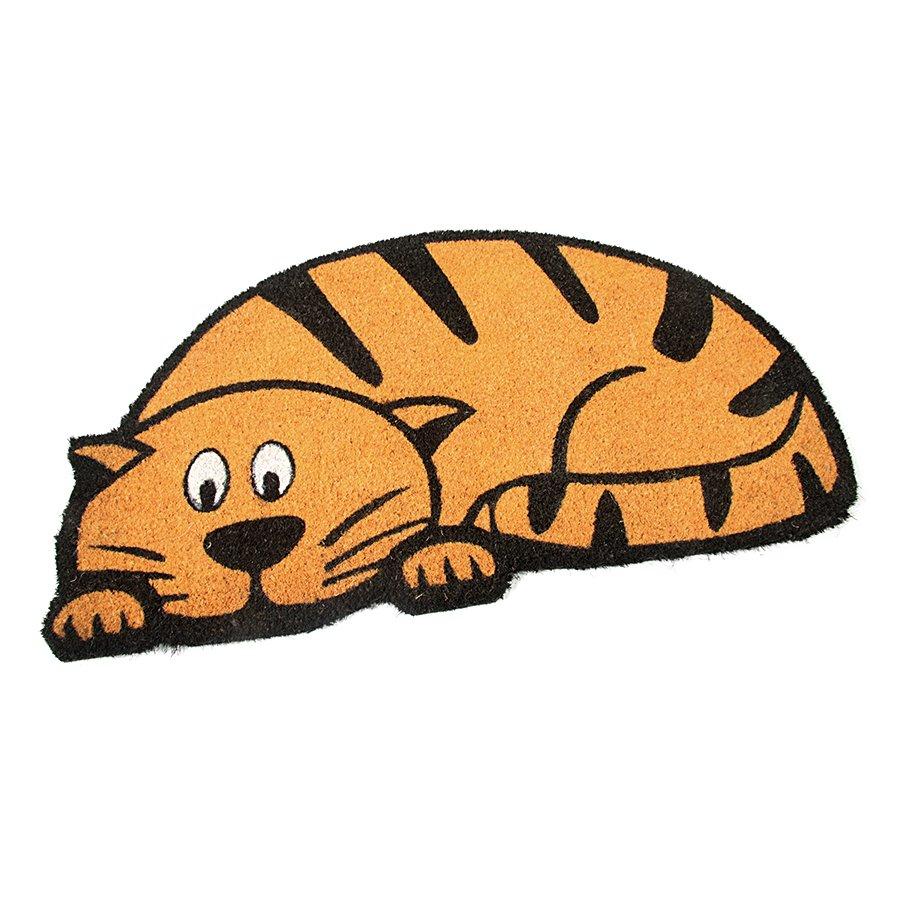 Kokosová vstupní venkovní čistící rohož Cute Cat, FLOMAT - délka 45 cm, šířka 75 cm a výška 1,7 cm