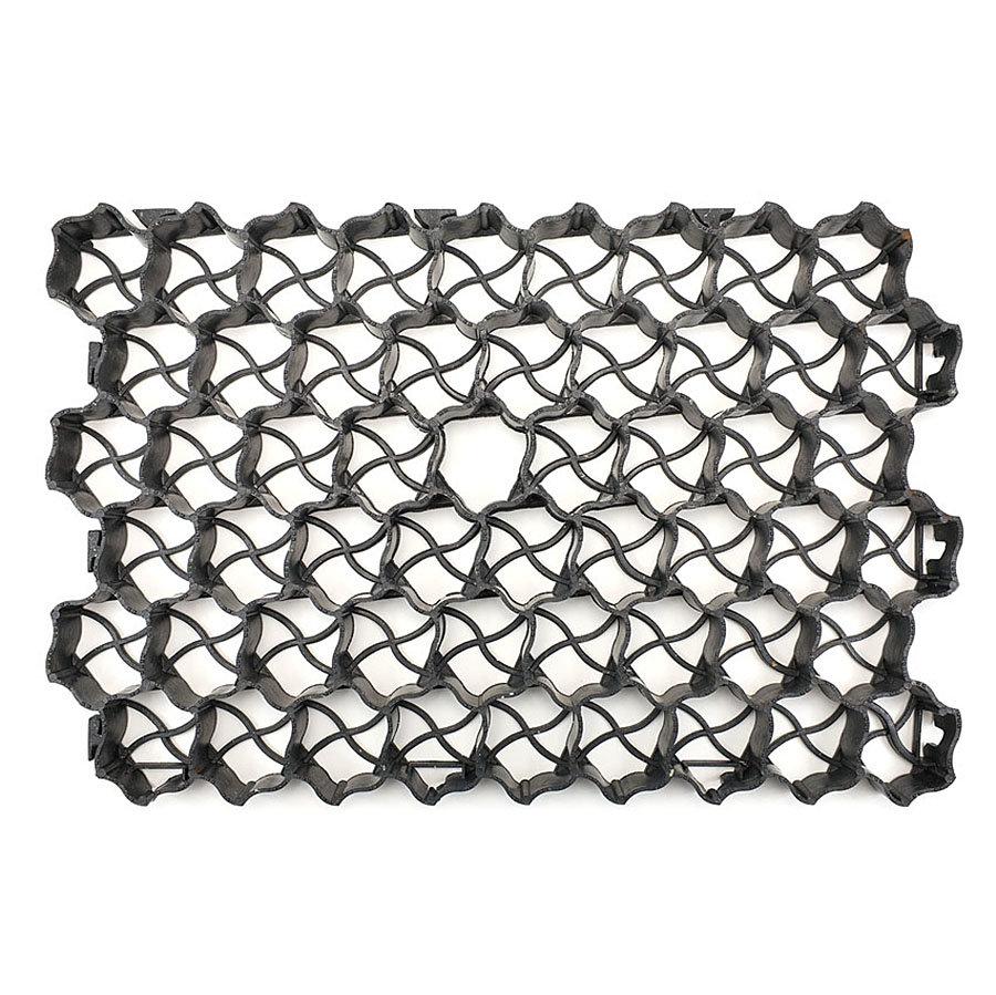 Černá plastová zátěžová zatravňovací dlažba S60 - délka 60 cm, šířka 40 cm a výška 4 cm