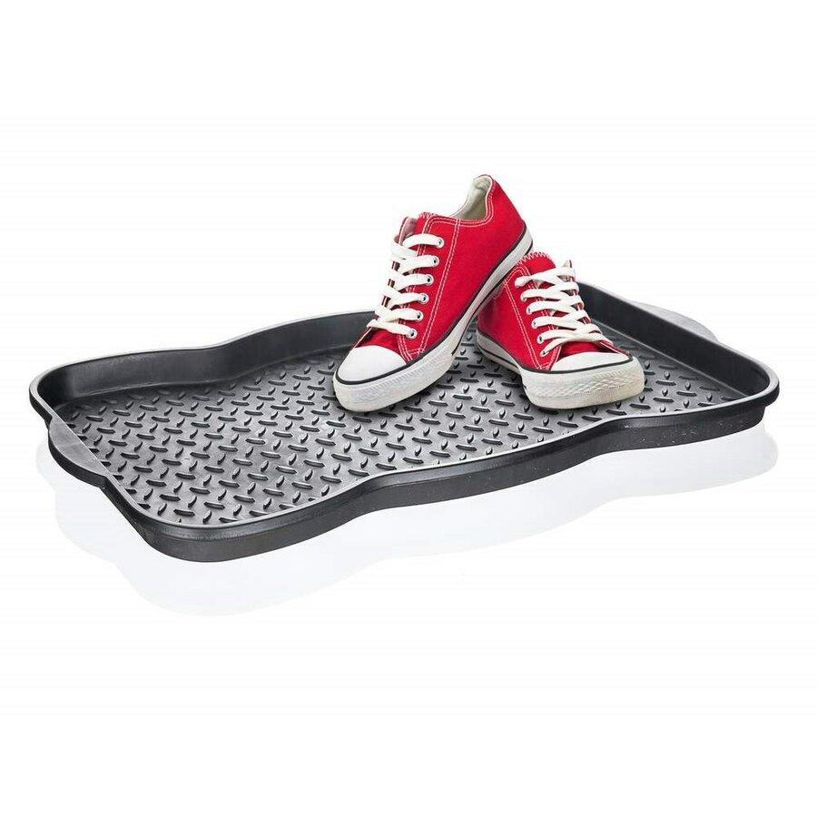 Černý plastový odkapávač na boty - délka 50 cm, šířka 38 cm a výška 3 cm