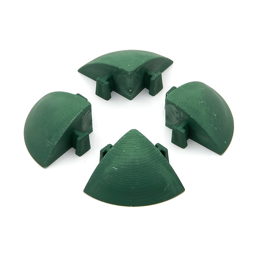Zelený plastový rohový nájezd pro terasové dlaždice Linea Easy - délka 5,4 cm, šířka 5,4 cm a výška 2,5 cm - 4 ks