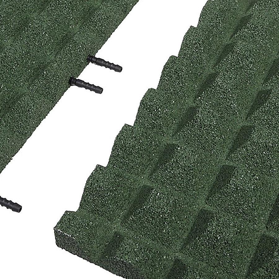 Zelená gumová krajová dopadová dlaždice (V40/R28) FLOMA - délka 50 cm, šířka 25 cm a výška 4 cm