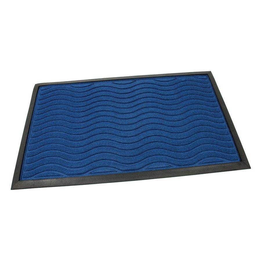 Modrá textilní gumová čistící vstupní rohož Waves, FLOMA - délka 45 cm, šířka 75 cm a výška 0,8 cm