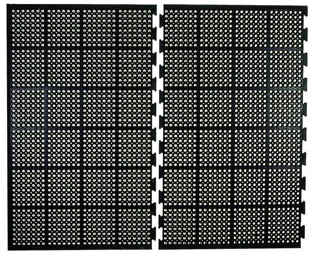 Černá gumová modulární průmyslová protiúnavová protiskluzová olejivzdorná rohož 04 - délka 150 cm, šířka 90 cm a výška 1,25 cm