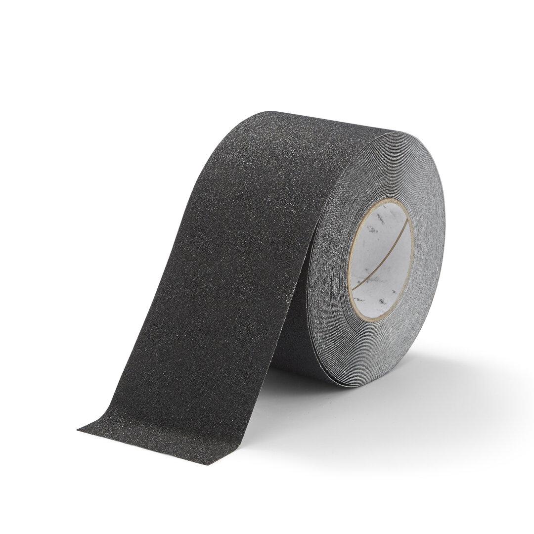 Černá korundová protiskluzová snímatelná podlahová páska FLOMA - délka 18,3 m a šířka 10 cm
