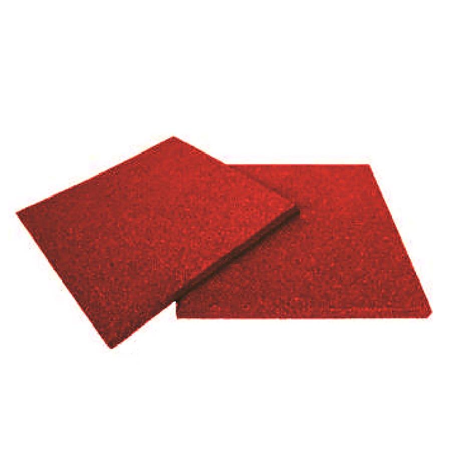 Červená gumová dopadová dlaždice (V20/R00) FLOMA - délka 50 cm, šířka 50 cm a výška 2 cm
