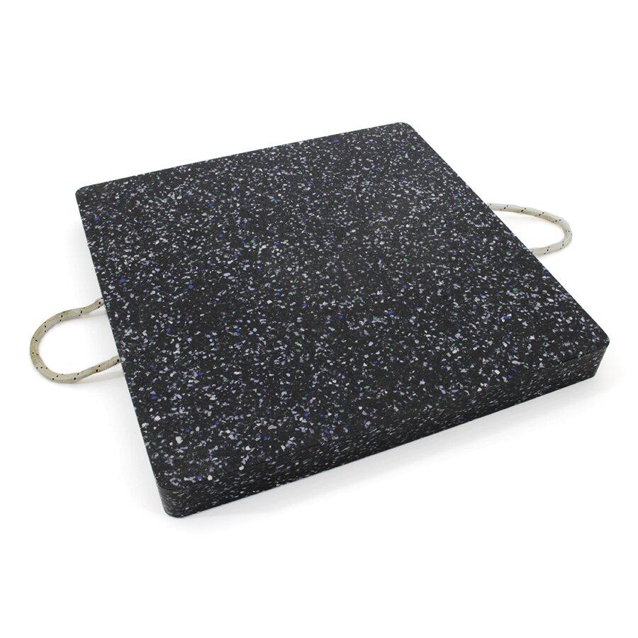 Černá plastová čtvercová podložka pod patku - 20,5 kg, délka 60 cm, šířka 60 cm a tloušťka 6 cm
