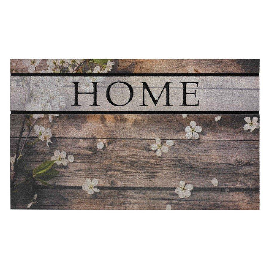 Venkovní čistící vstupní rohož FLOMA Residence Woodpanel Flowers - délka 45 cm, šířka 75 cm a výška 0,9 cm