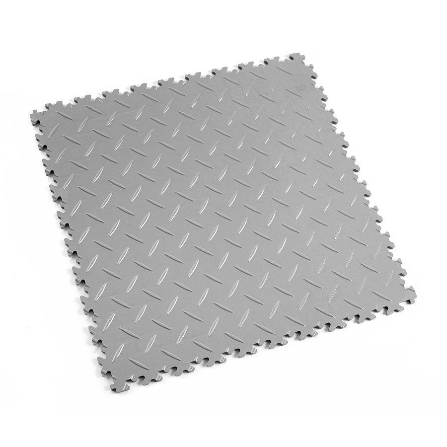 Šedá vinylová plastová zátěžová dlaždice Fortelock Industry 2010 (diamant) - délka 51 cm, šířka 51 cm a výška 0,7 cm